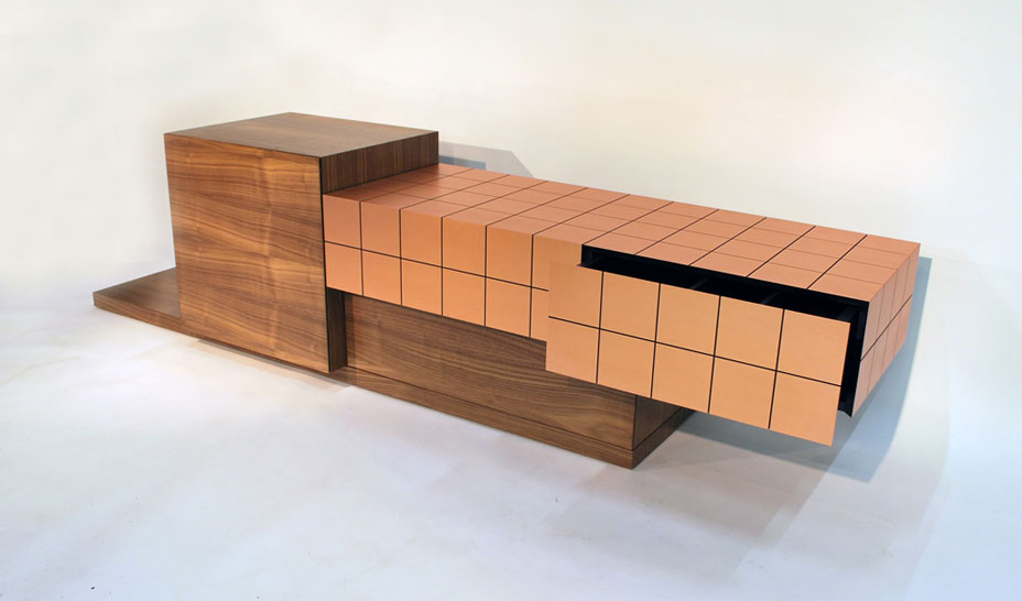 tv cabinet, copper and walnut