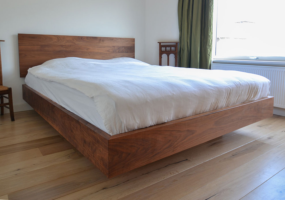 bed made of walnut wood